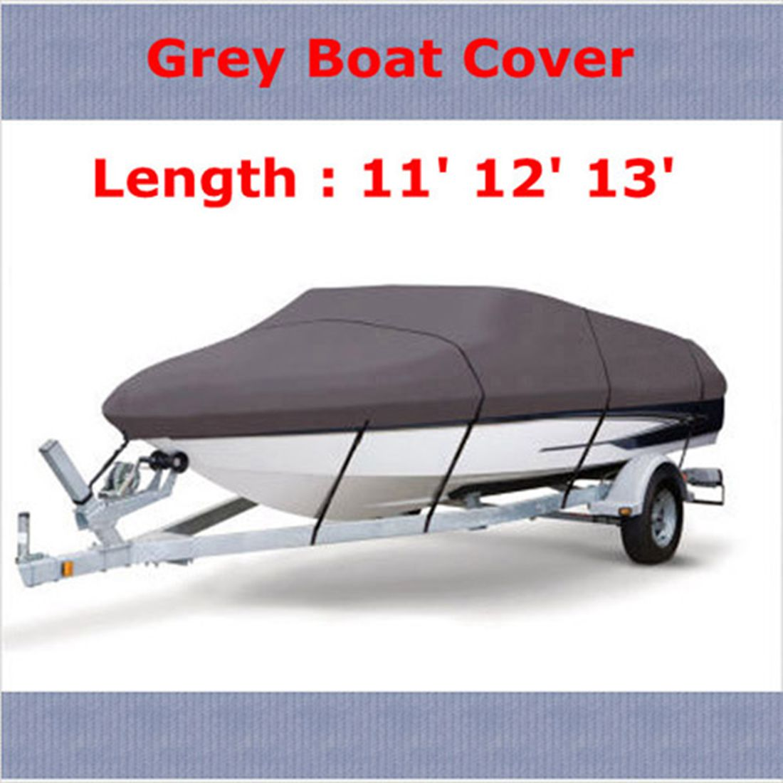 WaterProof 210D Grey Boat Mooring Cover 11 12 13 FT Beam 105 inch Trailerable Fish-Ski V-Hull Storage Bag