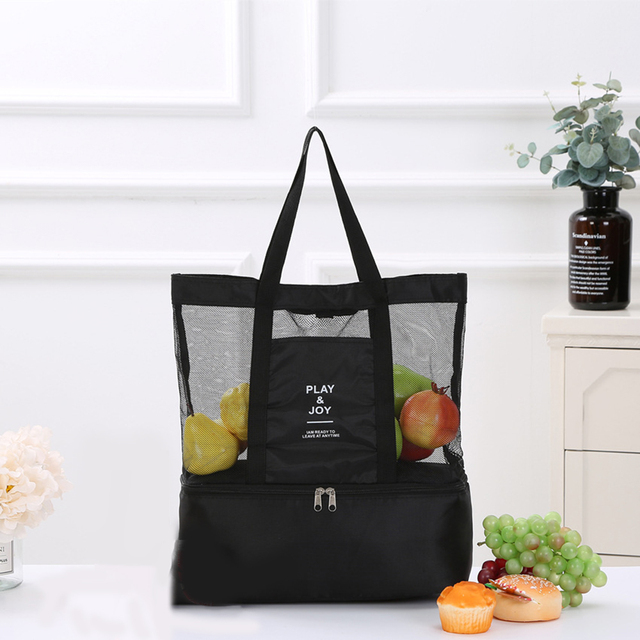 1Pc Women Mesh Transparent Bag Double-layer Heat Preservation Large Portable Insulated Picnic Beach Bags High Capacity New 2019 1