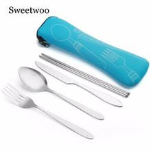 4 Pcs/Set Stainless Steel Fork Spoon Chopsticks Travel Ourdoor Camping Cutlery Tools Portable Tableware 9 Colors