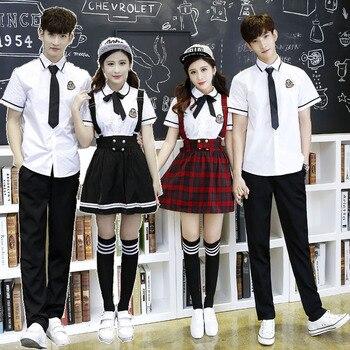 Korean School Uniform Girls Jk Navy Sailor Suit For Women Japanese School Uniform Cotton White shirt + Plaid Straps Skirt roupas da moda masculina 2019