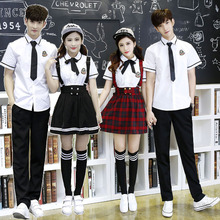 Korean School Uniform Girls Jk Navy Sailor Suit For Women Japanese School Uniform Cotton White shirt + Plaid Straps Skirt