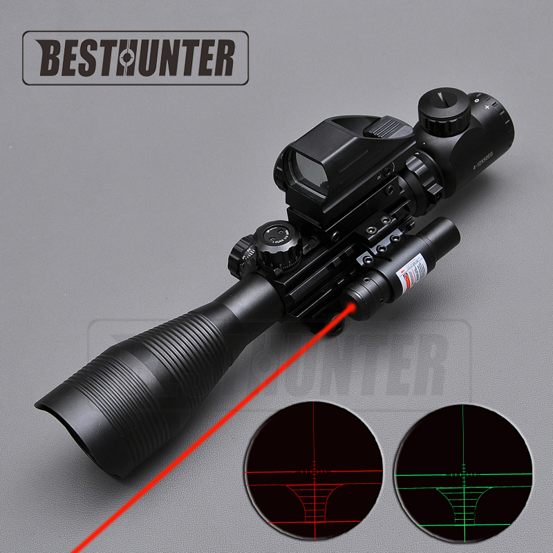 4-12X50 EG Tactical Riflescope Red And Green Dot Optics Rifle Scope with Holographic 4 Reticle Sight + Red Laser Combo 3 10x42 red laser m9b tactical rifle scope red green mil dot reticle with side mounted red laser guaranteed 100%