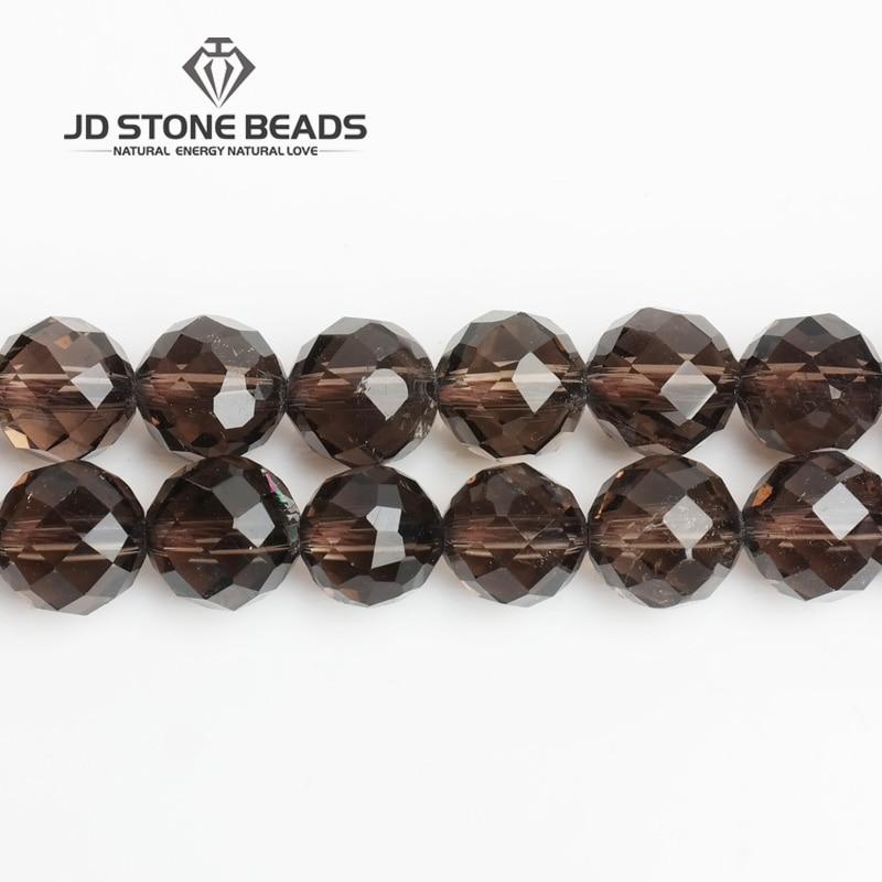 JD Pierre Perles Livraison Gratuite Naturel À Facettes Quartz Fumé Avec 64 De Coupe Semi-Fini À La Main Bracelet Perles Accessoire