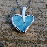 Natural Larimar Stone Pendand in 925 Sterling Silver Fine Jewelry Pendants