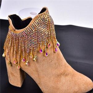 Image 5 - Bling 50 cm/lot rhinestone dance gold AB crystal cadena cortina de borlas decoración para coser en prendas strass banding collar trim