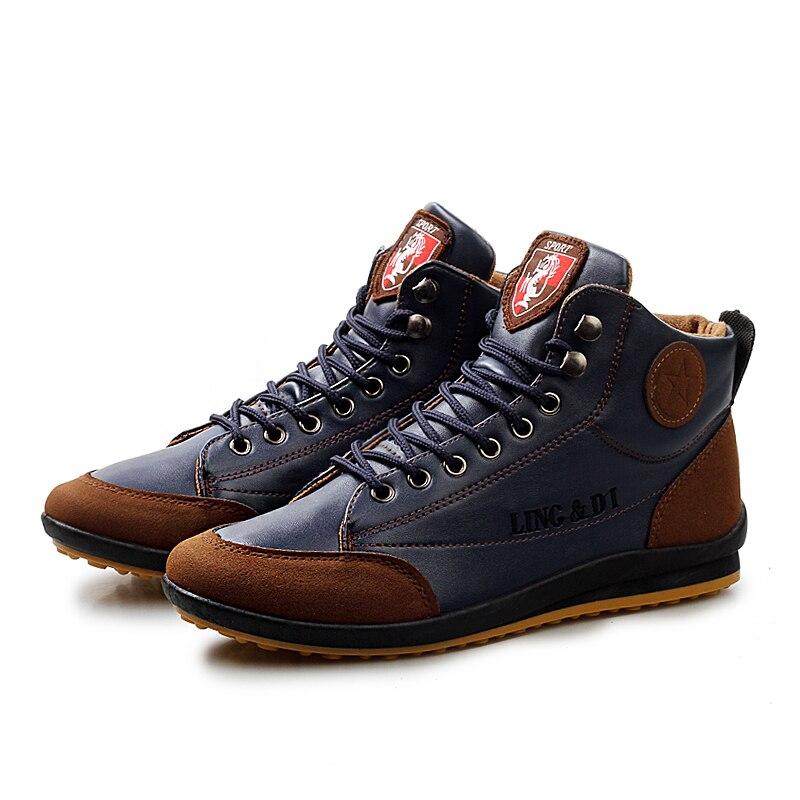 44 En Plus Coffee Le brown D'hiver Mode blue Chaussures Chaud Taille 39 Coton Botas De Cuir Bottes Hommes Hiver 2018 Automne Masculina Cheville v0HHw4