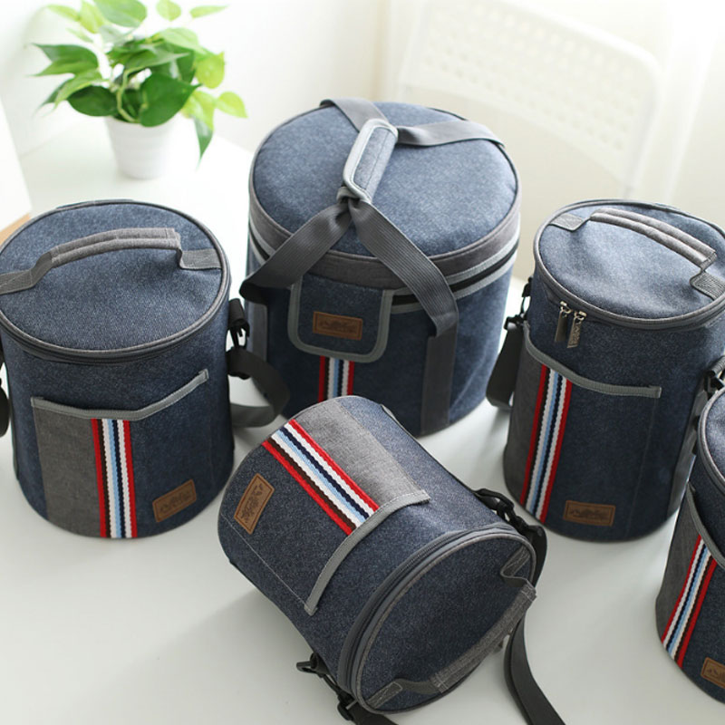 Oxford Denim Drum Cooler Bag Thermo Lunch Picnic Box Insulated Cool Backpack Ice Pack Fresh Carrier Thermal Shoulder Bags image