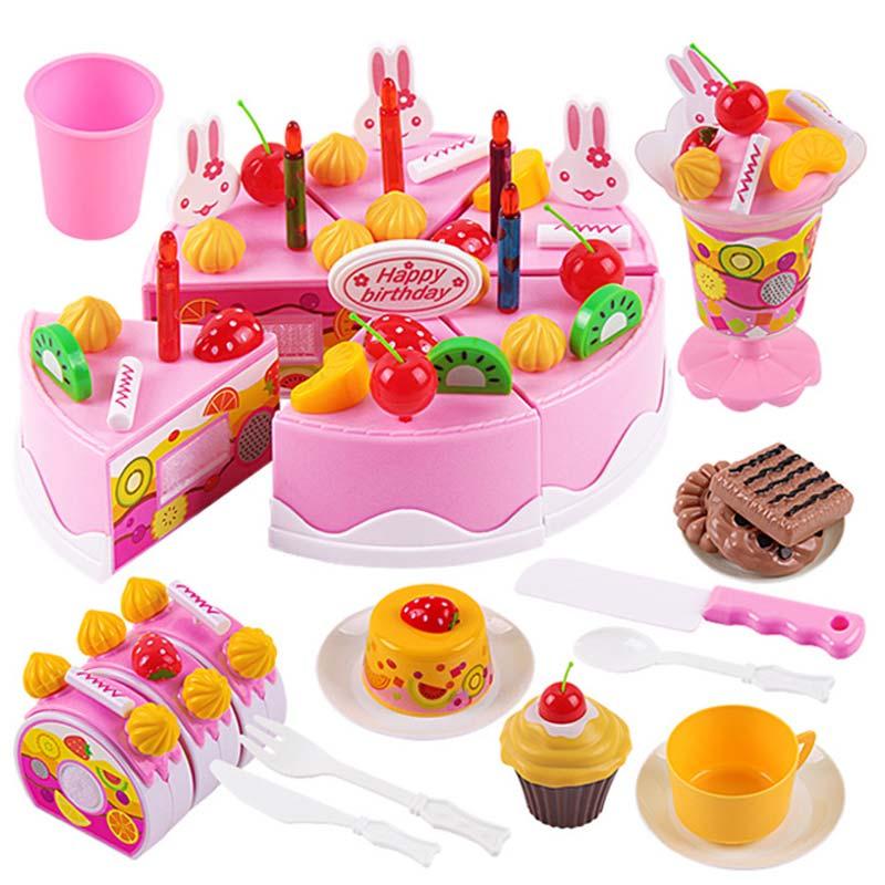 38Pcs/54Pcs/75Pcs Birthday Cake DIY Model Children Kids Early Educational Pretend Play Kitchen Food Plastic Toys @Z413