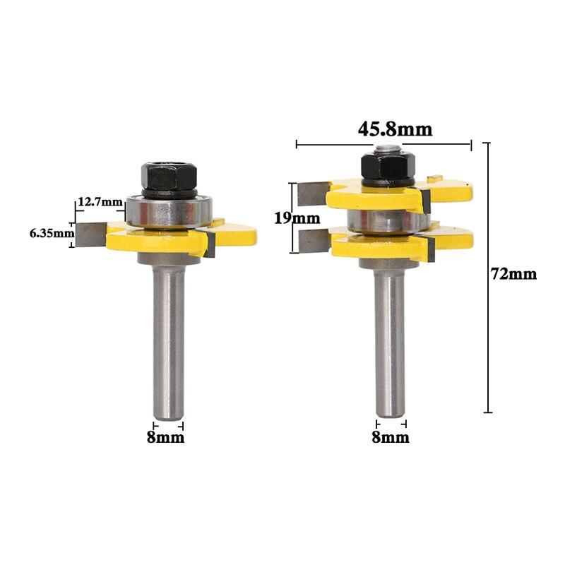 8mm Tige 2 Peu À Rainure et Languette Routeur Bit Set Bois Fraise couteau plancher