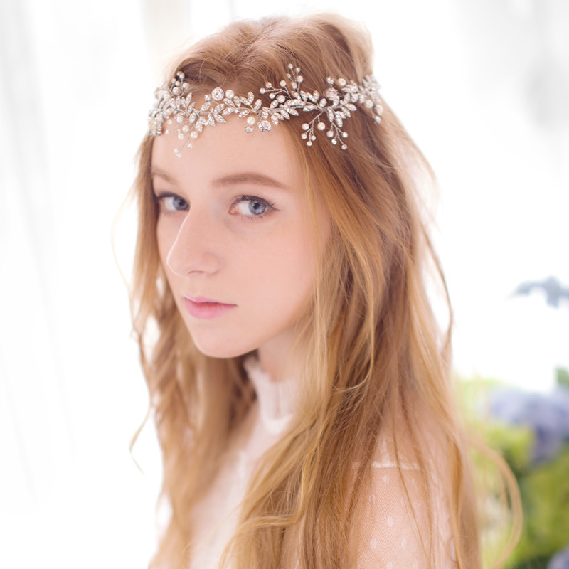 new gold silver rhinestone bridal headband hair jewelry handmade wedding hair vine accessories crystal pearl headpiece