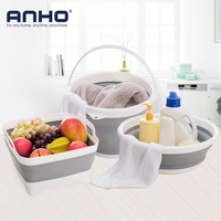 ANHO 3PCS/set Portable Wash Bucket Creative Plastic Foldable Cleaning Kitchen Bathroom Camping Car Washing Fishing Tools Outdoor