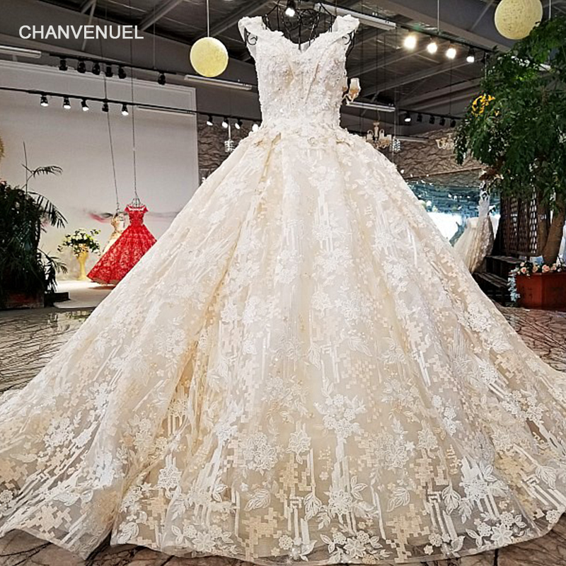 Wedding Gown Patterns With Sleeves: LS30819 Bridal Gown V Neck Lace Fashion Applique Flower
