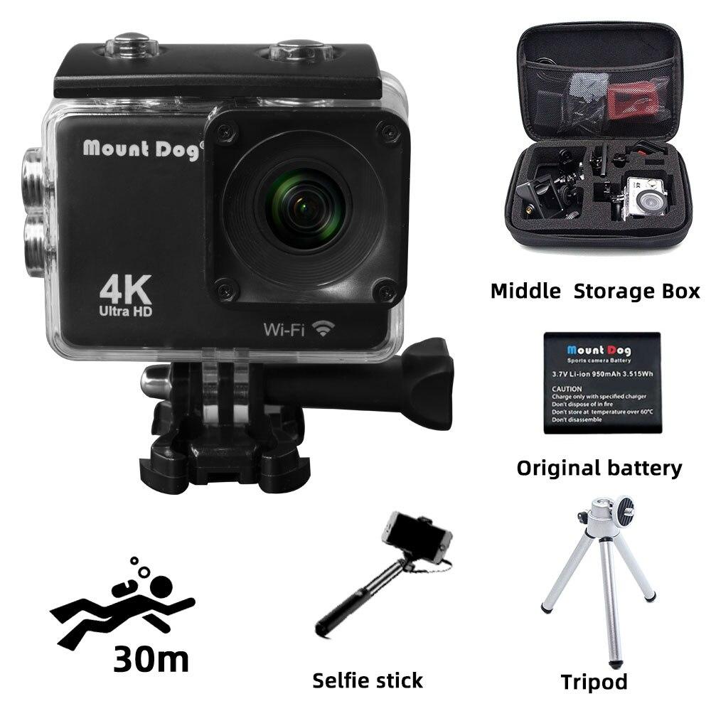 Caméra d'action Ultra HD 4 K WiFi télécommande sport vidéo caméscope DVR DV étanche et étui go pro accessoires caméra