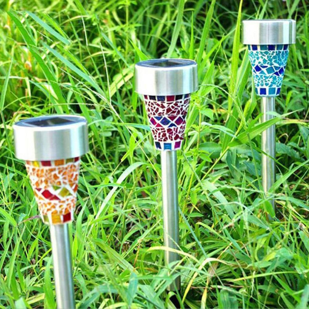 3pcs Garden Solar LED Light Color Changing Mosaic Decoration Stake ...