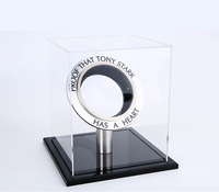 [Funny] Glass Display box Iron Man Arc Reactor A generation of glowing iron man heart model LED Light Action Figure Show Case