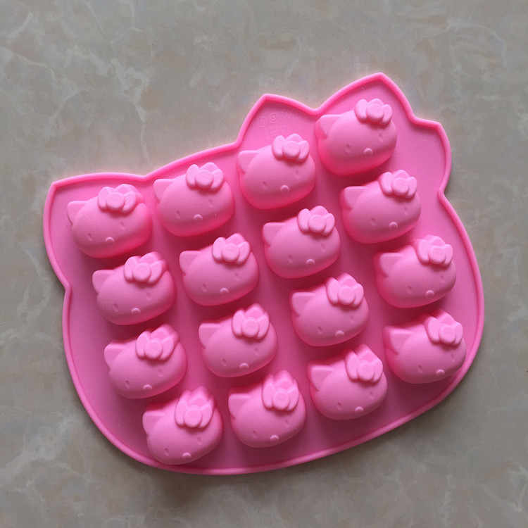 Atacado silicone gel chocolate molde 16 mesmo cabeça de gato silicone bolo molde