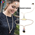 BL-100 Women Fashion Necklace Bluetooth Earphones with Microphone Girl Pearl Necklace Crystal LED Headphone for iPhone Android