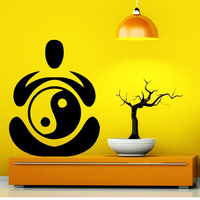 Yoga Vinyl Wall Decal Yoga Pose Yin Yang Buddha Mural Art Wall Sticker Yoga Studio Beauty