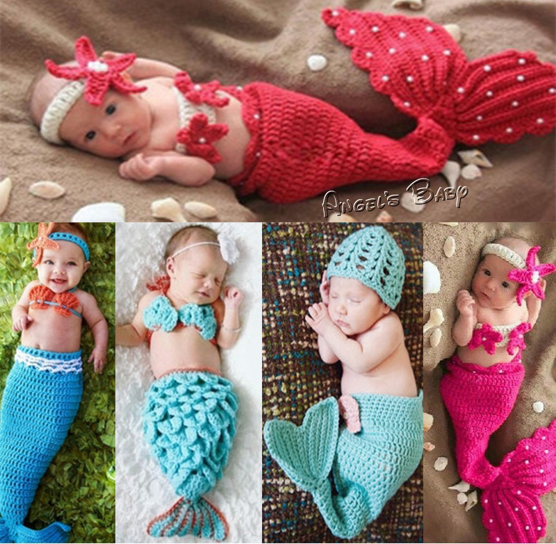 Knitting Pattern For Baby Mermaid Outfit : Aliexpress.com : Buy Crochet Newborn Baby Hat Winter Cap,Knitting Toddler Beb...