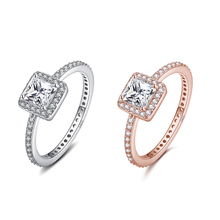 Фотография 2 style 925 Sterling Silver Ring Charm with rose gold cubic zirconia crystal wedding ring for Women