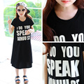 New Girls Summer Dress 2017 Kids Letters Dress Children Cotton Dress Toddler Baby Casual Dress,3-14Y