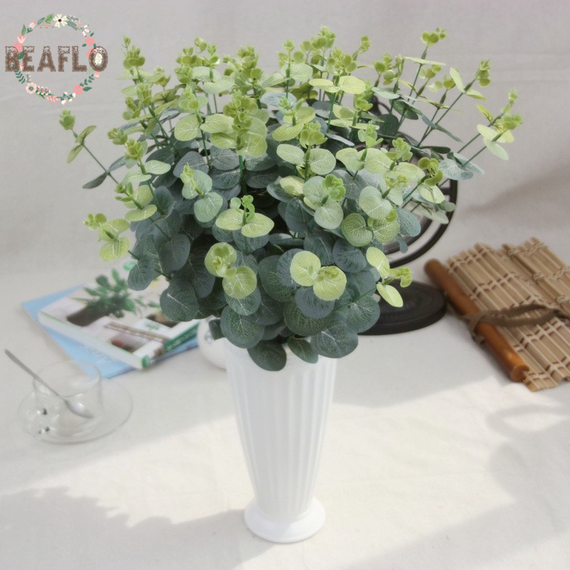 1 PC Planta De Flor De Seda Artificial Verde Rodada Deixa Arranjo de Flores Acessórios de Decoração Para Casa de Casamento
