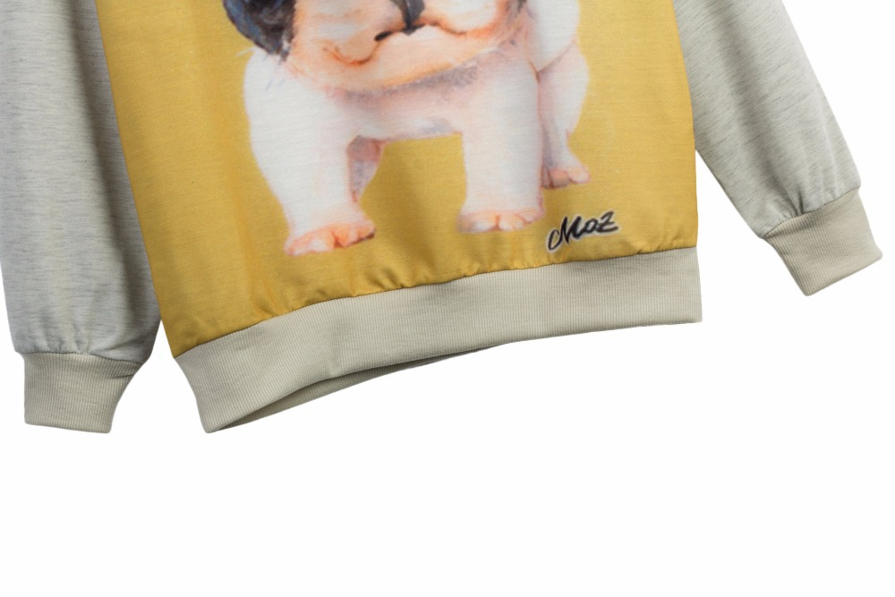 2017 New fashion Women Men clothes 3d Animals printed Pug/dog Pullovers Sweatshirt long sleeves Hoodies suit sweats Tops