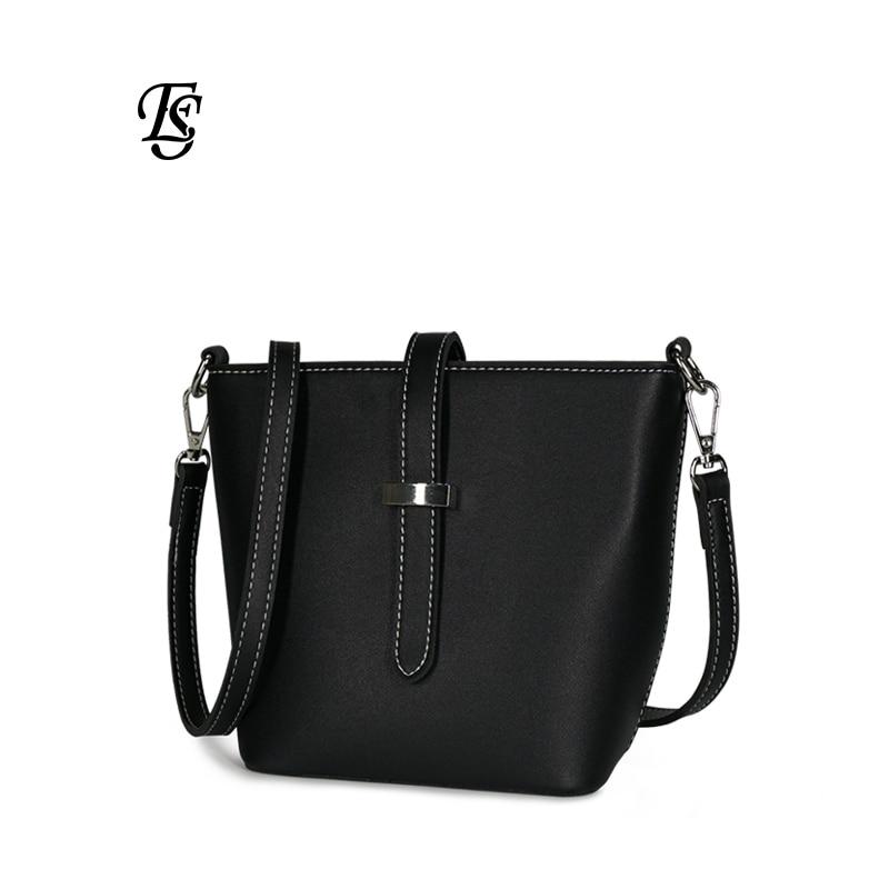 Solid color handbag 2019 new fashion simple ladies shoulder bucket bag Messenger bag pu female bag