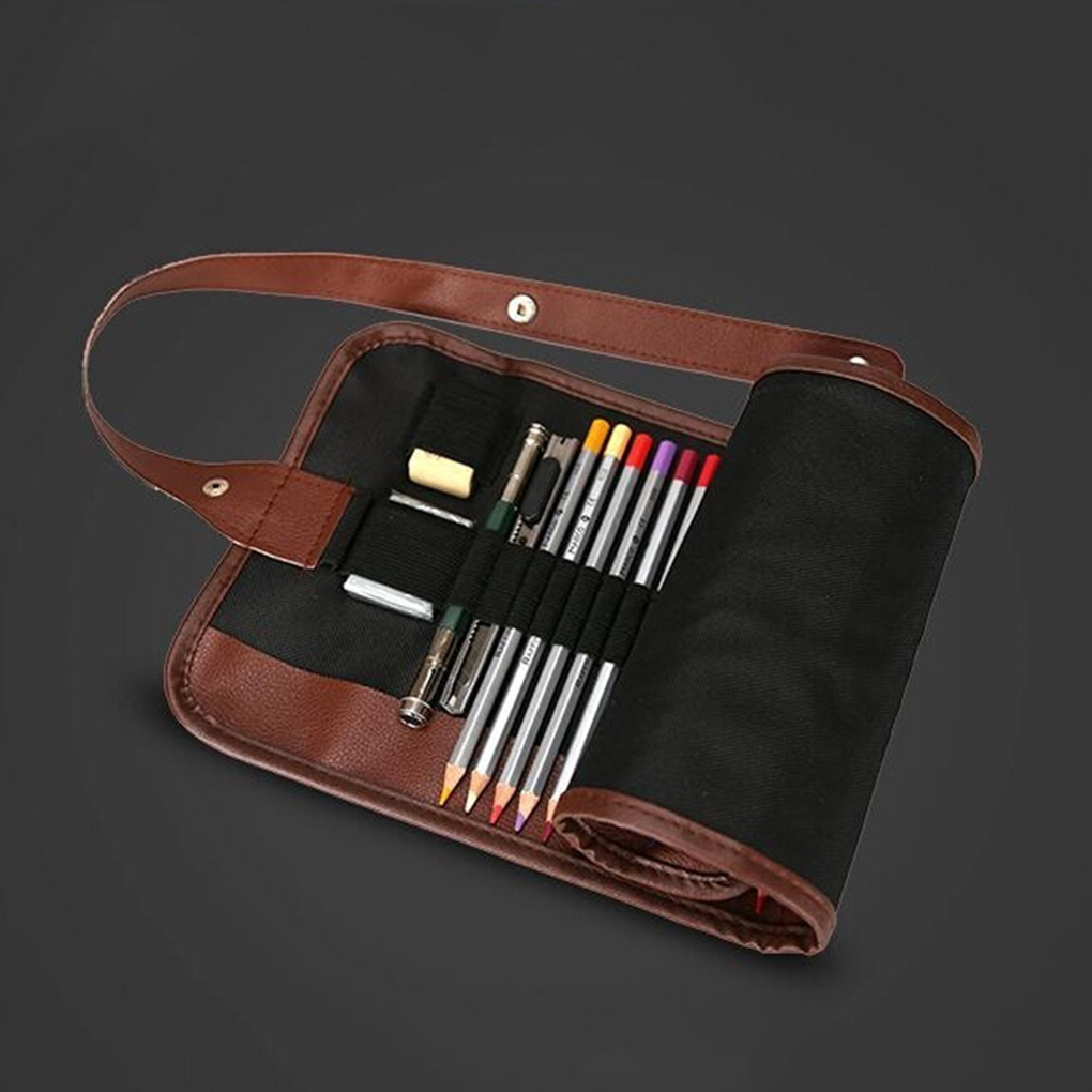 New 24 Slots Pencil Bag Wrap Roll Up Students Canvas Sketching Pen Case Brushes Makeup Pouch