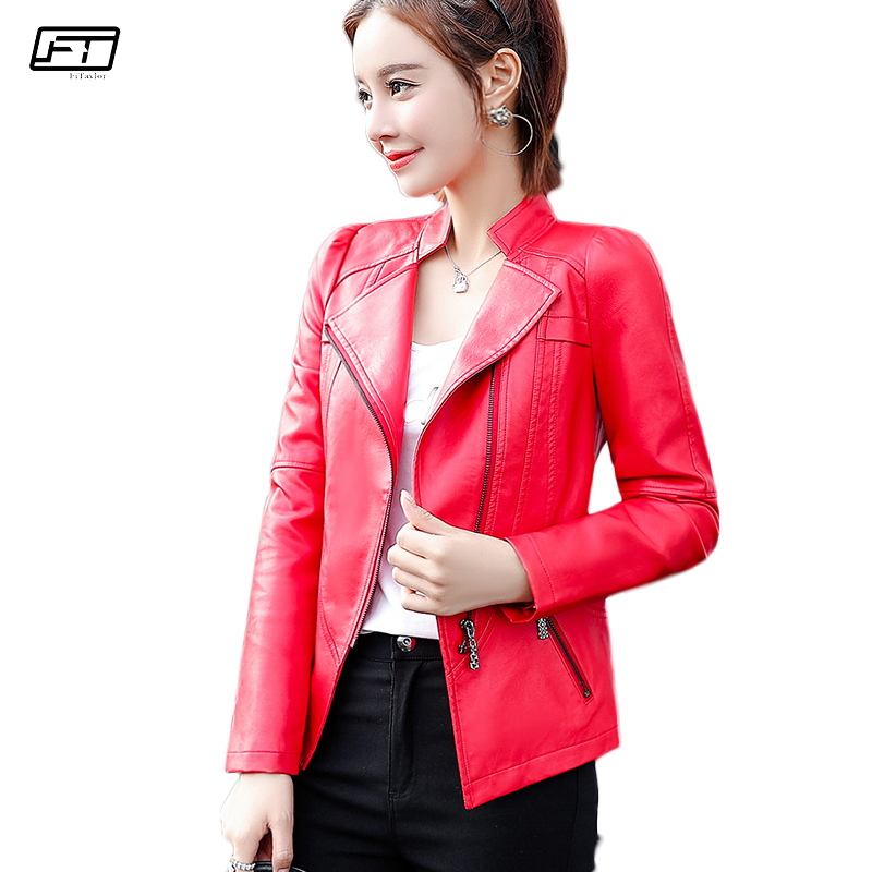 Fitaylor Plus Size 6xl Female Leather Jacket Mandarin Collar Long Sleeve Zipper Spring Autumn Short Coat