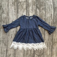 Baby Girls Fall Dress Clothing Children Cute Solid Color Dress With White Lace Ruffle Dress Girls