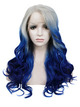 cosplay party wigs 24″ Ombre blue heat resistant body wave lace front wigs synthetic hair for women