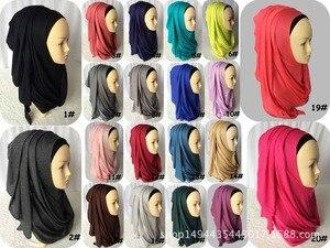 Image 5 - ใหม่ห่วง HIJAB ผู้หญิงธรรมดา Jersey Hijab ทันทีผ้าฝ้ายมุสลิมหัวผ้าพันคอสีทึบ Headwear ครึ่งอ่านสวมใส่ 180x70 ซม.