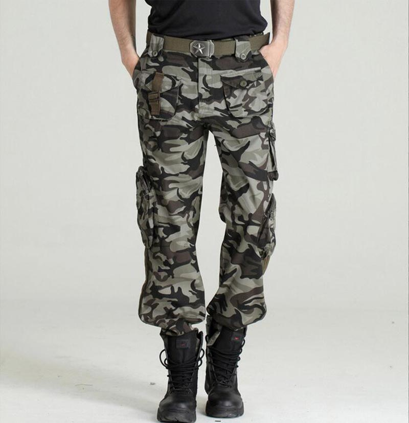 Autumn-Summer Denim Army Green Camouflage Loose Pants Multi-Pocket Jeans Baggy Fashion Cargo Pants