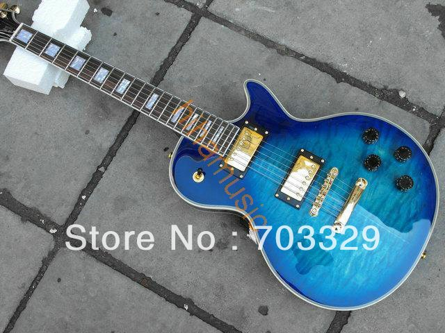 new blue quilted top guitar hot guitars free shipping high quality LP custom grover tuner music mahogany body rosewod fretboard