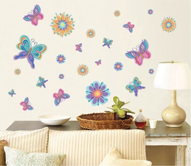 f8a2cb3e2459 New DIY Multicolor Vinyl Butterfly Wall Art Sticker For Nursery/Children/Kids  Room Removable Decal Mural Home Decor 50*70CM