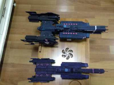 1:130 Halo 4 UNSC savanaah 3D Paper Model DIY Space Battleship Papercraft