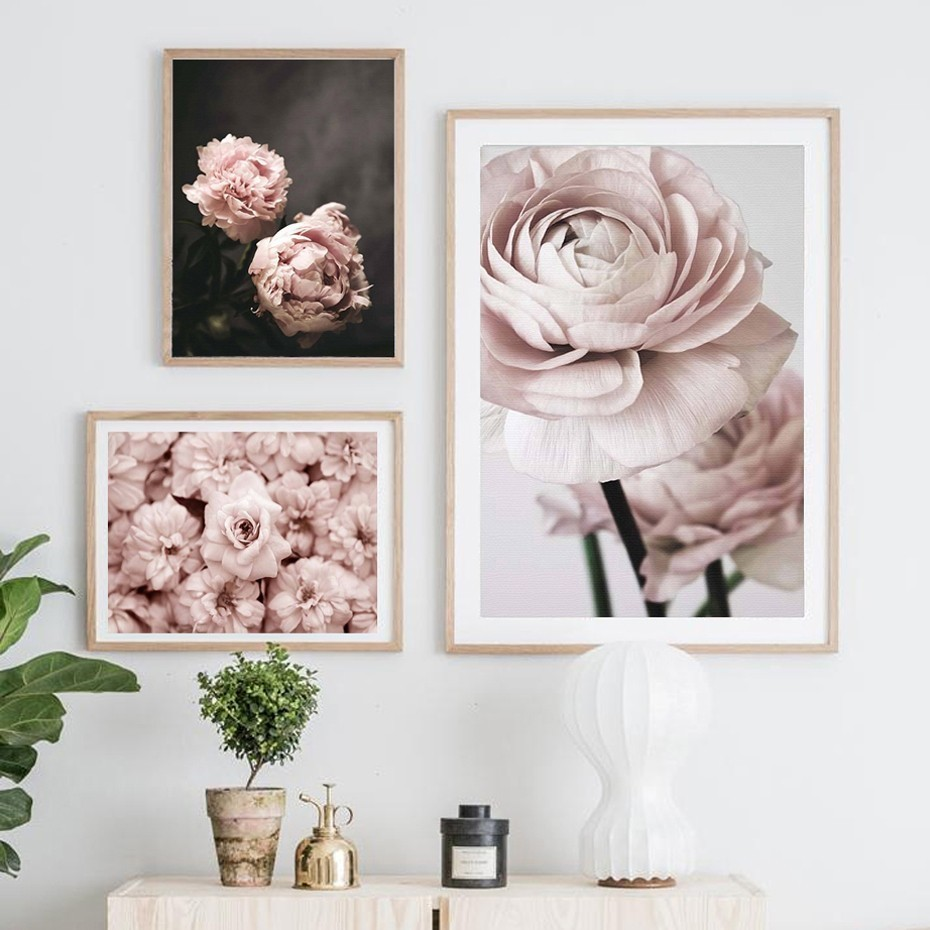 Modern Romantic Light Pink Peonies Flowers Canvas Paintings Gallery Posters  Prints Wall Art Pictures Bedroom Interior Home Decor
