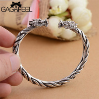 GAGAFEEL Cool Real 925 Sterling Sliver Double Dragon Bracelets Men Personality Fashion Bracelets Bangles Men S