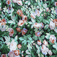 100x160cm Graceful Bloooming Rose Flower Green Leaf Green Stripe Printed Cotton Fabric For DIY Sewing Bedding