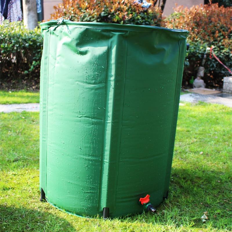 225L წვიმიანი ბარელი დასაკეცი წვიმა შეგროვება სატანკო ძლიერი PVC ჩამონგრევით Rainwater მოსავლის წყლის ავზი ბაღი წყლის კონტეინერი