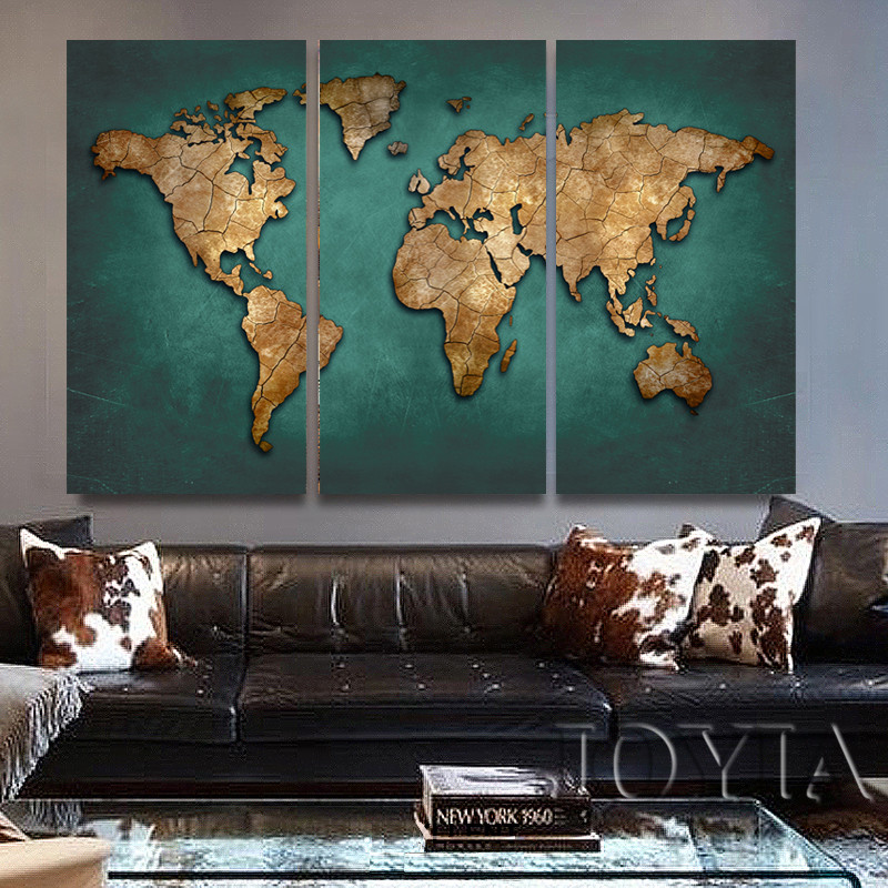 US $5.9 49% OFF|World Map Wall Painting Canvas Art Large Abstract Maps  Forum Dark Green Earth Plate Canvas Poster Print For Home Office No  Frame-in ...