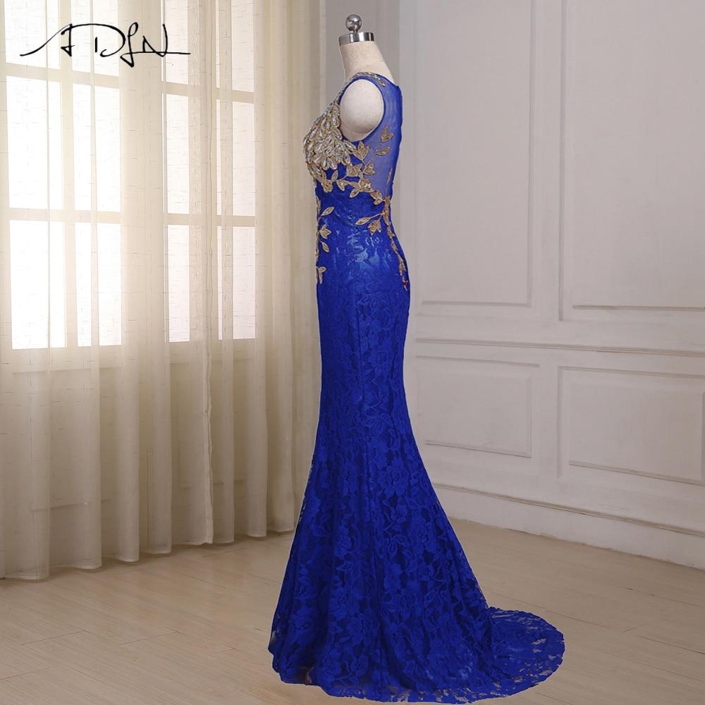 ADLN Royal Blue Mermaid Aftonklänning Cap Sleeve Golvlängd Custom - Särskilda tillfällen klänningar - Foto 4
