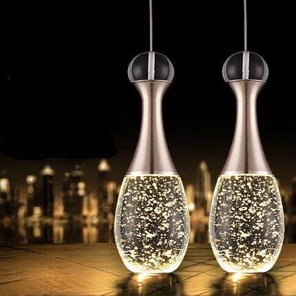Vintage pendentif lampe moderne led verre cristal bulle for Moderne verlichting eetkamer