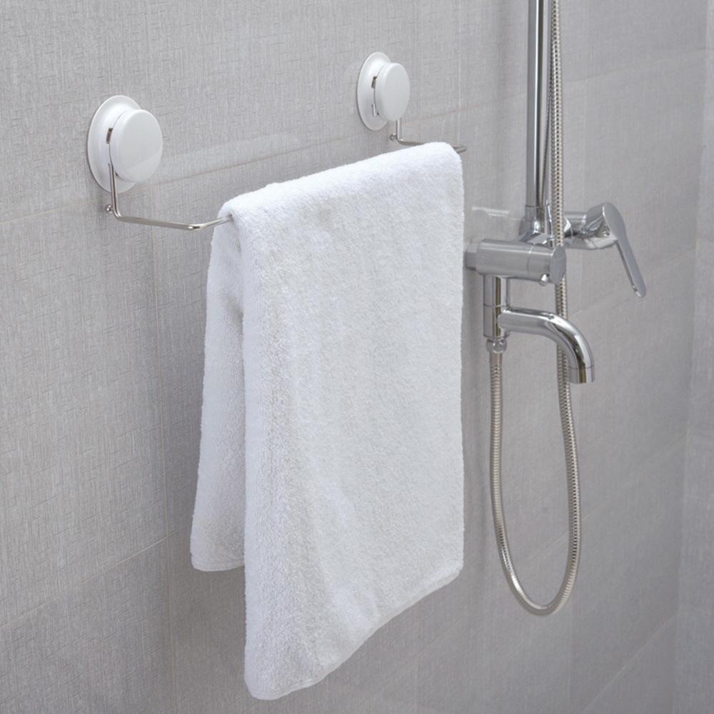 Where To Put Towel Bars In Bathroom: Gar Bath Plastic Suction Cup And Stainless Steel Single