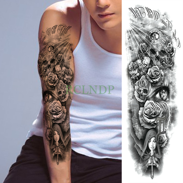 13eb840d34e80 Waterproof Temporary Tattoo Sticker Skull Rose Cross Pray full arm large  size fake tatto flash tatoo