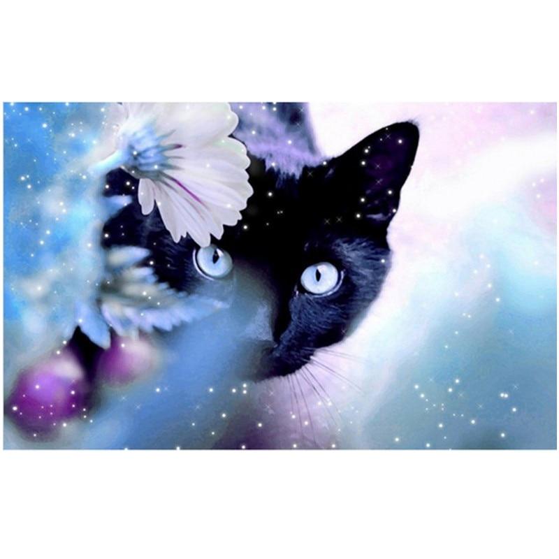 DPF Diamond Mosaic Embroidery Animal Black Cat Diamond Painting Cross Stitch Square full dill Sets Unfinished Decorative drawing
