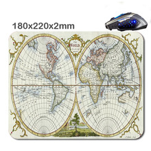 Vintage world map high resolution Customized Non-Slip Rubber 3D Printer Gaming laptop Rubber Durable Nice Mouse mat 220*180*2mm