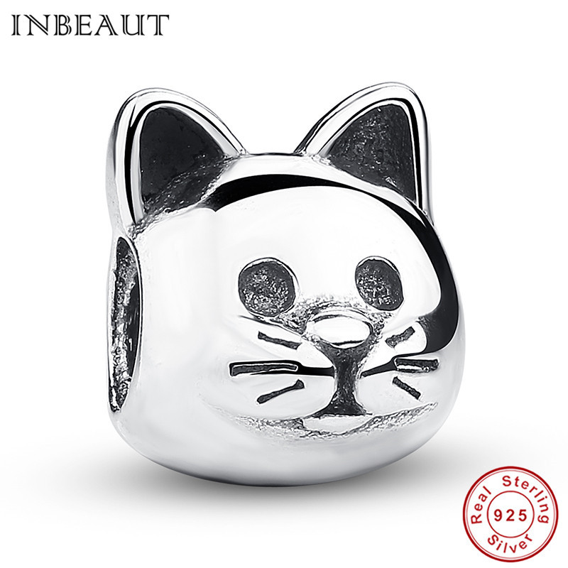INBEAUT Genuine 925 Sterling Silver Curious Lovely Cat Animal Charm Fit Original Pandora Charm Bracelet Fashion Jewelry