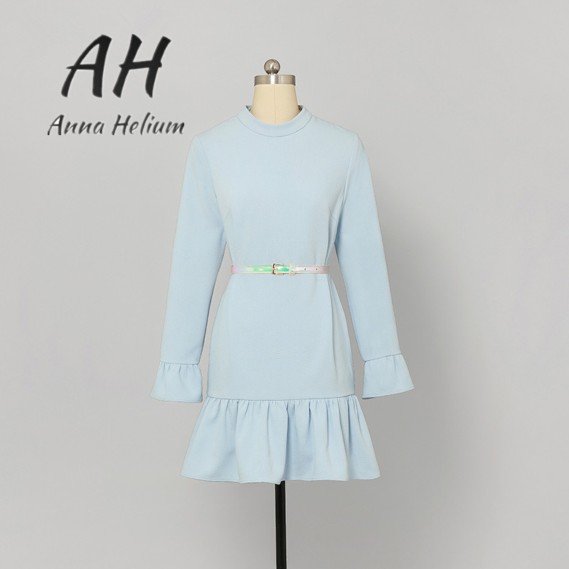 Pre spring Sweet water blue O-neck full-sleeved Bud wing mini dress with sashes AH035